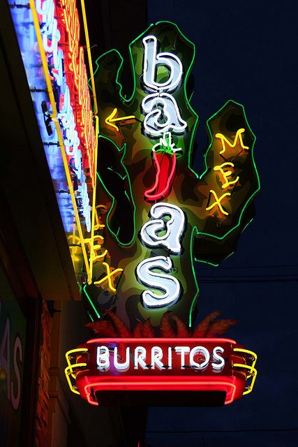 Bajas Burritos Tex Mex ~ Colorful Neon Sign. Providence, RI. - neon lights