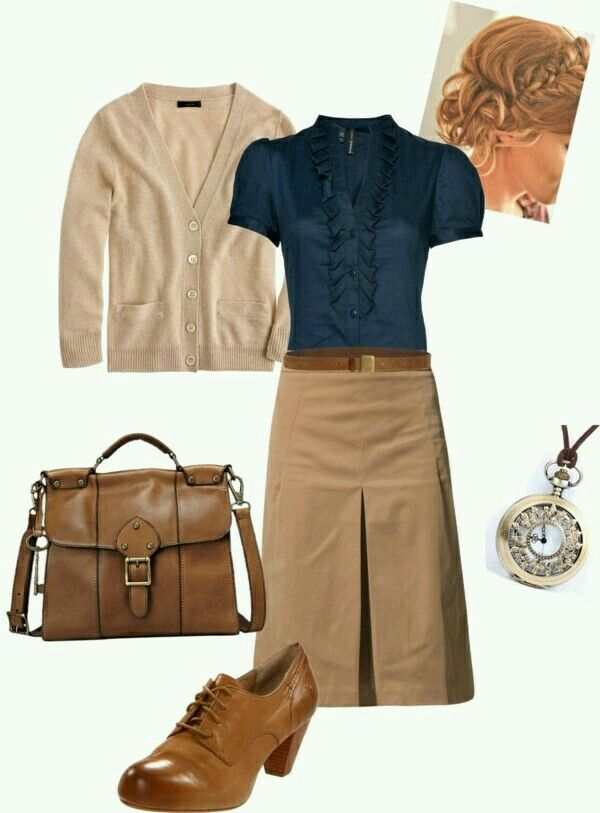 I like the skirt but the top is a little too formal/business for what I would wear on a normal basis.