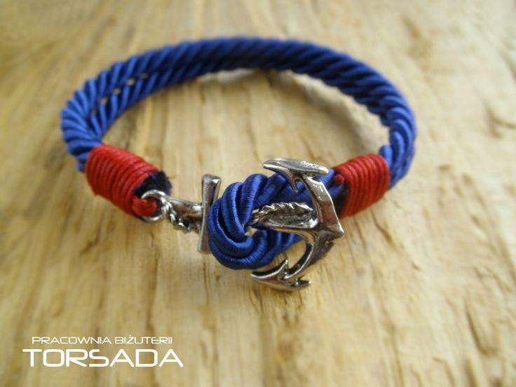 Dark blue men's women's anchor bracelet. Męska lub damska bransoletka z kotwicą.