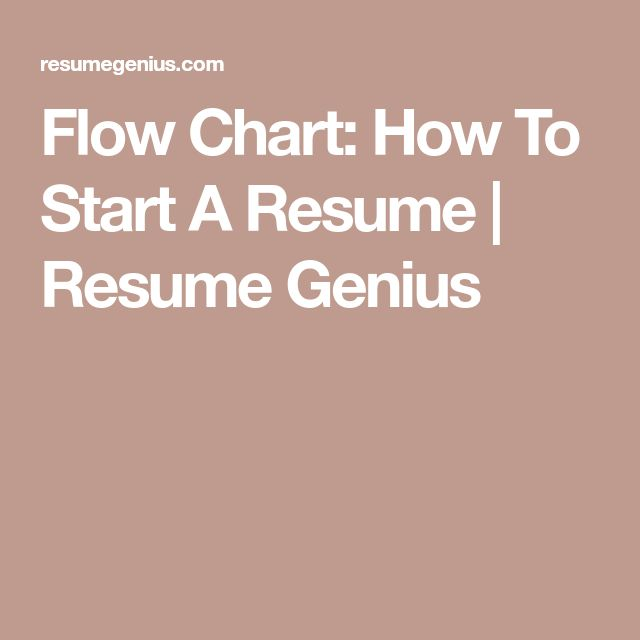 Flow Chart: How To Start A Resume