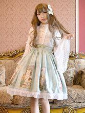 Lolitashow Falda de Lolita de algodón y lina con estampado con volante fruncido estilo dulce