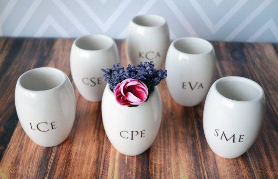 bridesmaid monogram vases   monogrammed bridesmaid gifts