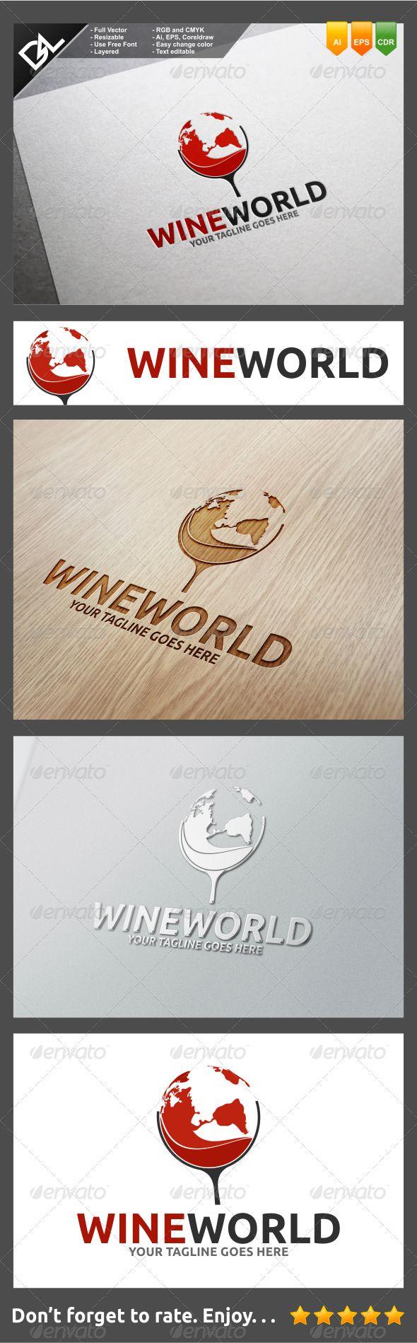 Wine World Logo Design Template Vector #logotype Download it here: http://graphicriver.net/item/wine-world/8292335?s_rank=158?ref=nexion