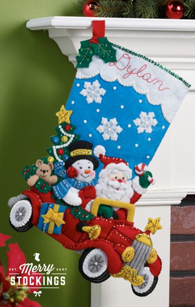 New release Bucilla Christmas stocking kit (available mid-November). Kit entitled Holiday Drive. MerryStockings will have plenty ready to ship!