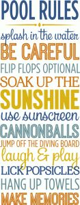 Silhouette Design Store - View Design #83130: pool rules