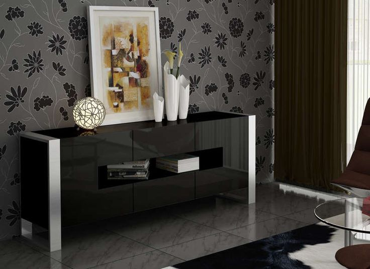 buffet achatdesign achat buffet de salon laqu noir. Black Bedroom Furniture Sets. Home Design Ideas