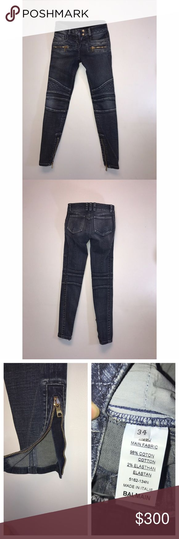 Balmain Paris Skinny Moto Women's Jeans    Sz: 34 Guaranteed authentic item. And a must have item! We are unable to model items or take sales to PP. Willing to negotiate through the offer button. No trades. Balmain Jeans Skinny