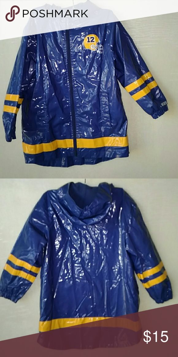 Nice fleece  lined boy's blue raincoat Football design. Size 7/8 Children's Place Jackets & Coats Raincoats