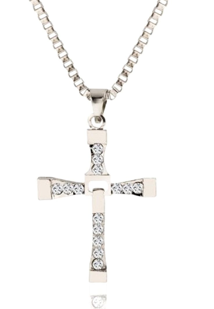 Famous Necklace Movie Fast and Furious Character Vin Diesel Actor Dominic Toretto Cross With Glitter Silver Color Best Quality >>> Check out this great article. #Necklaces