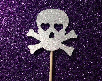 12 teschio Glitter Cupcake Toppers - Halloween Party - Decorazioni - Cuori - scheletro - spettrale