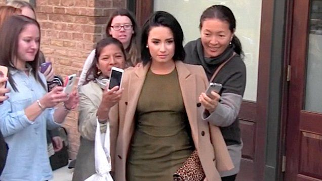 Demi Lovato greeted fans as she exited from the soundcheck for her upcoming Saturday Night Live appearance in New York City.