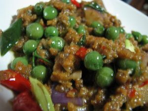 =Indonesian food (west Java) : Tumis Leunca, Oncom & Daging cincang=