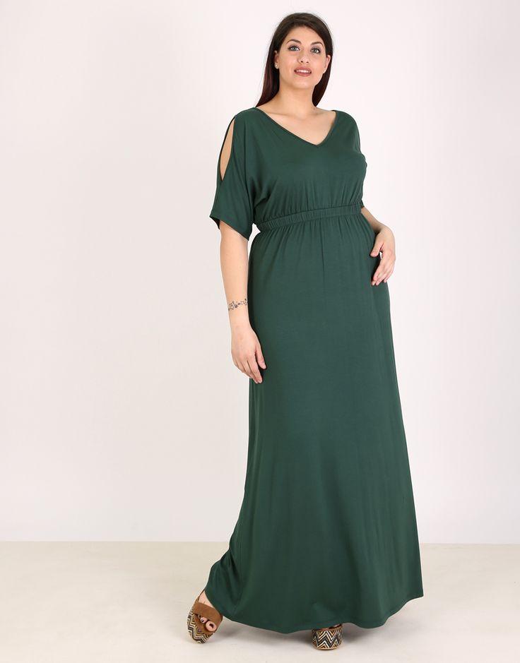 #PlusSize Μάξι φόρεμα για μεγάλα μεγέθη, έξωμο, V ντεκολτέ σε ζέρσεϋ. | Για αγορά πατήστε πάνω στην εικόνα