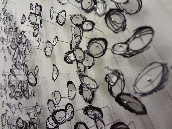 INSTALLATION: Fragmented drawing by Lucy V. Pereira art