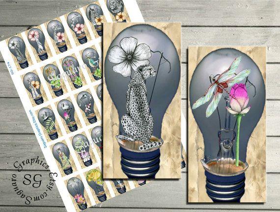 LIGHT OVERSEAS  1x2 inch  Digital Collage Sheet by SaguaroGraphics, $4.25