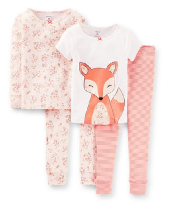 4- Piece Snug FIt Cotton PJs Every night will be a pajama party in these pjs. Fun allover prints and a cute fox are just right for bedtime, story time or lazy mornings, too!