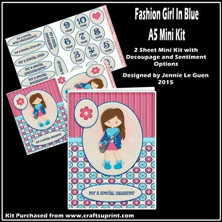 Fashion Girl in Blue A5 Mini Kit on Craftsuprint - View Now!
