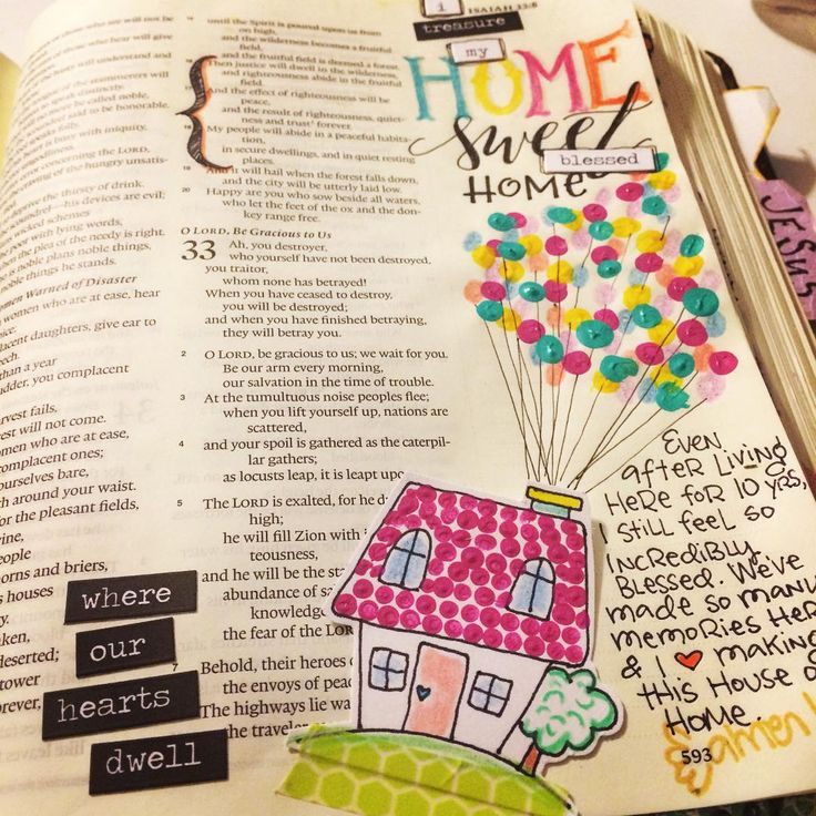Even though I'm not following along with any gratitude devotionals, I still pause and reflect on what I'm thankful for. And Isaiah 32:16-18 is perfect for thoughts on Home & this nod to the movie Up gives me all the happy feelings that home represents! I'm especially loving my new @tim_holtz ideology stickers and so had to use a bunch here. #biblejournaling #biblejournalingcommunity #illustratedfaith #homeiswheretheheartis