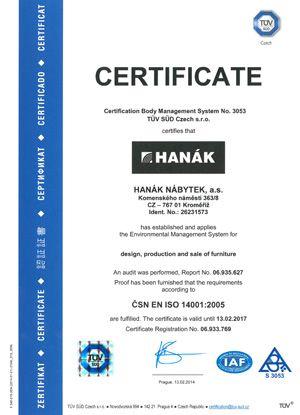 Trvale pracujeme na zlepšování kvality výrobků a služeb. Získali jsme certifikáty pro řízení managementu kvality: ISO 9001 a pro řízení ochrany životního prostředí: ISO 14001.