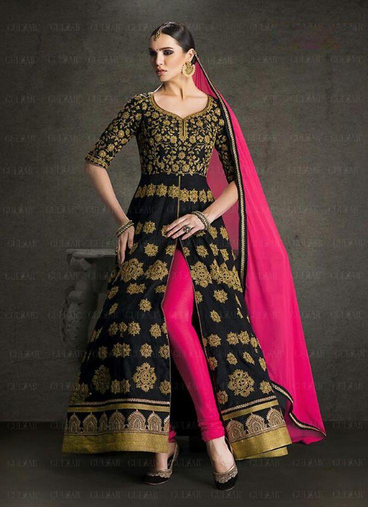 Achkan Style Incredible Salwar Kameez in Black & Silk Fabric