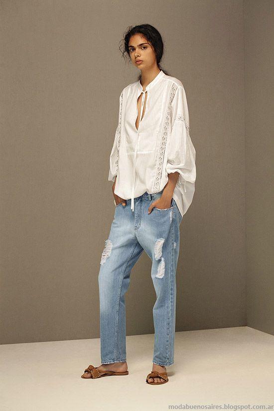 Túnicas primavera verano 2016 jeans de moda. María Cher primavera verano 2016.