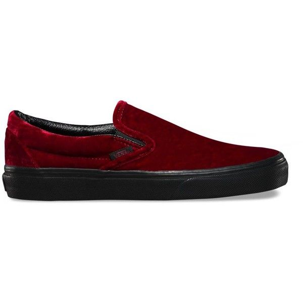 Vans Velvet Slip-On ($60) ❤ liked on Polyvore featuring shoes, sneakers, red, low profile sneakers, red slip on sneakers, slip on trainers, red slip on shoes and elastic shoes