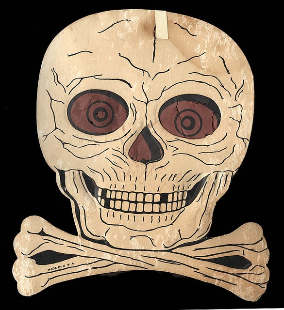 vintage halloween decoration die cut skull crossbones circa 1960s