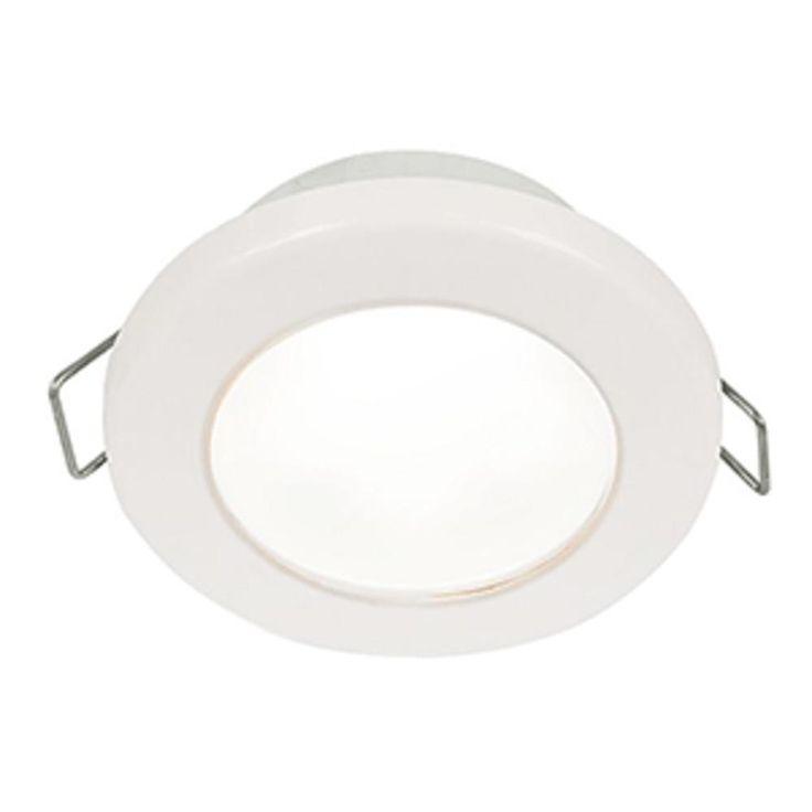 Hella Marine EuroLED 75 3 Round Spring Mount Down Light - White LED - White Plastic Rim - 12V