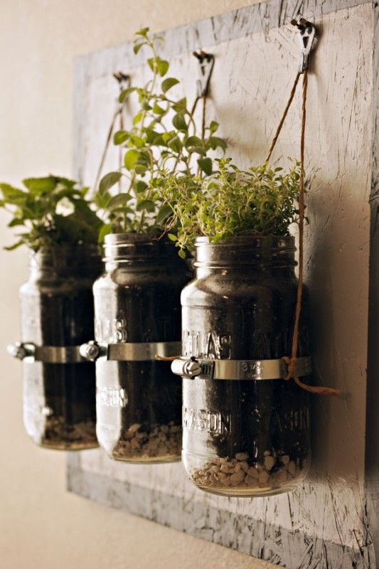 Indoor Hanging Herb Planters Part - 22: Clever Hanging Herb Garden... Well Done: Practical And Visually Appealing.  Credit