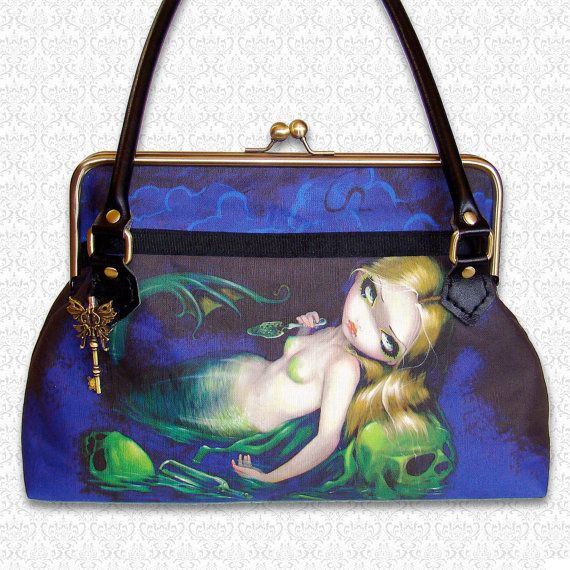 <3 it! a Custom purse with Jasmine Becket-Griffith artwork>> This one is Absinthe Mermaid! so stylish!