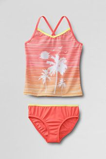 Girls' Smart Swim™ Graphic Two Piece Tankini from Lands' End, Fresh Melon  Palm Trees Size 10