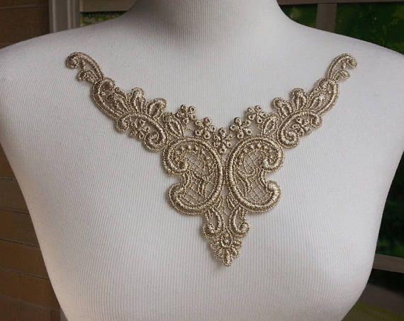 1 pc  Metallic Gold  Lace Applique Venise Lace for Jewelry