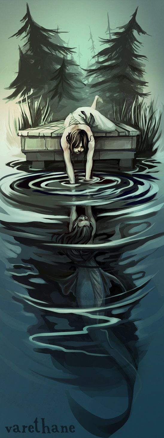 "(""Kylie, wait!"" He shouted behind her. She paid him no mind, sandals slipping on the dusty path below her. The dock appeared as if from nowhere, a finger reaching into the endless blue of the lake. The moment her feet touched wood she leaped, flinging half her body off the edge. Where--there! Her hands touched Luna's and she tugged. ""You're not dying today, you stupid nymph!"" She screamed, desperately trying to pull her friend up.) Text by Silver Leonhart."