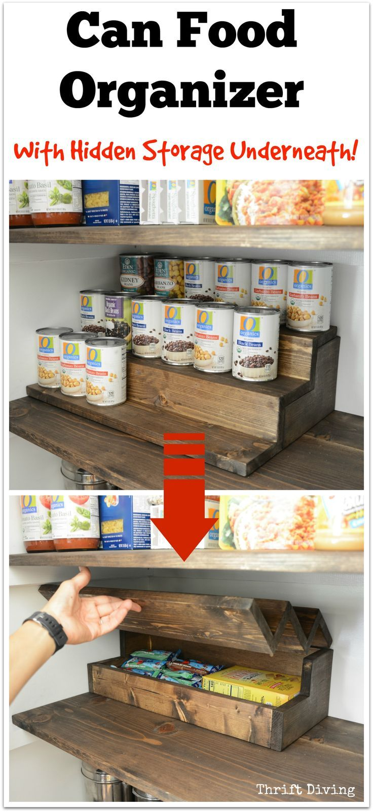 Can Food Organizer with Hidden Storage Underneath - Hide treats and snacks from your kids! - Thrift Diving Blog