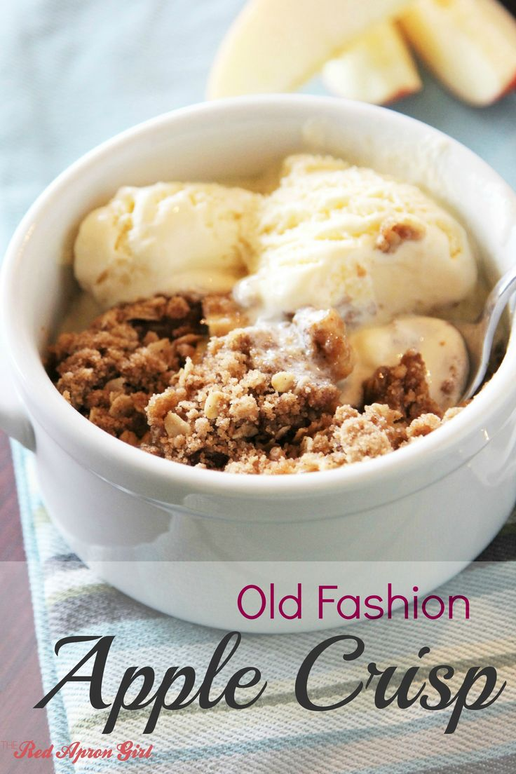 Old Fashion Apple Crisp. I love it when it is hot so the ice cream melts all around it. Delicious!