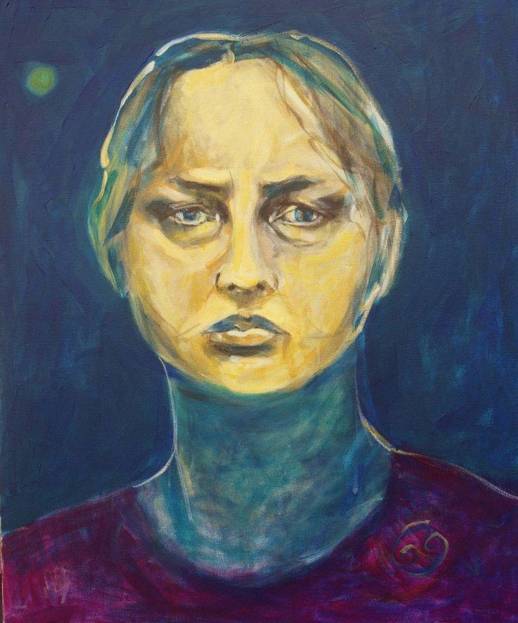 Autoportret księżycowy - Malarstwo,  50x61 cm ©2015 przez ANNA  BARDZKA -                                                          Współczesne malarstwo, Płótno, Portrety
