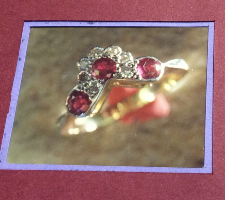 Ruby and Diamond floral eternity ring with lightly engraved platinum overlaid shoulders