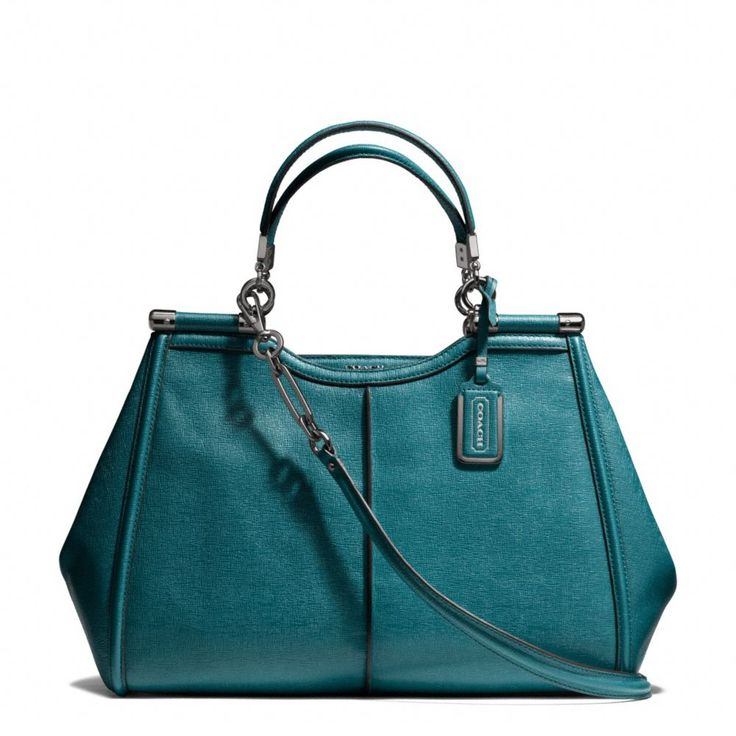 The Madison Caroline Satchel In Textured Leather from Coach (Teal)