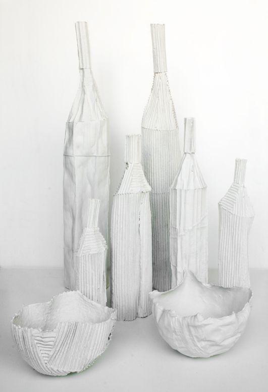 vasi e ciotole cartocci paola paronetto. h.massima vasi cm.84 h.minima vasi h.cm.33 ciotole h.cm.13
