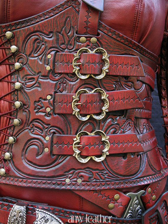 ANW Leather: Replica Mord'Sith Armor, Decorative Tooling Red or White. This is a photograph of the armour she made for me. Fantastic work.