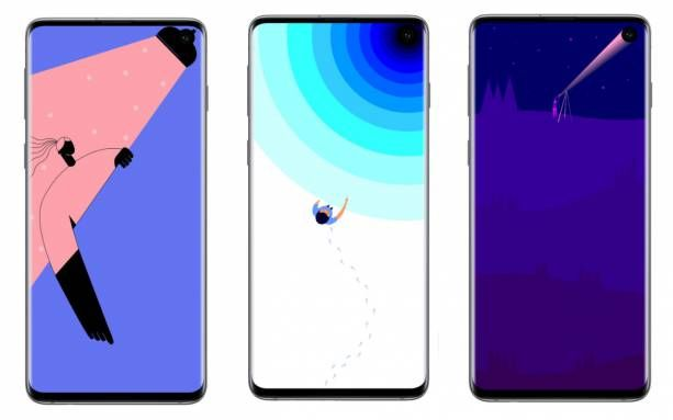 These Clever Galaxy S10 Wallpapers Embrace The Hole Punch Camera Samsung Has Released A Series Of High Qual Samsung Galaxy Wallpaper Galaxy Wallpaper Wallpaper