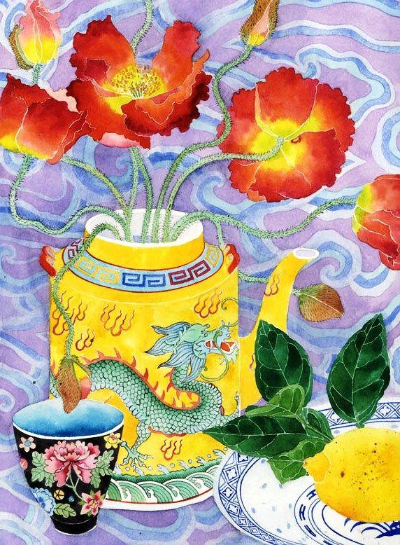 Poppies with Yellow Teapot, Gabby Malpas.  Watercolour on paper