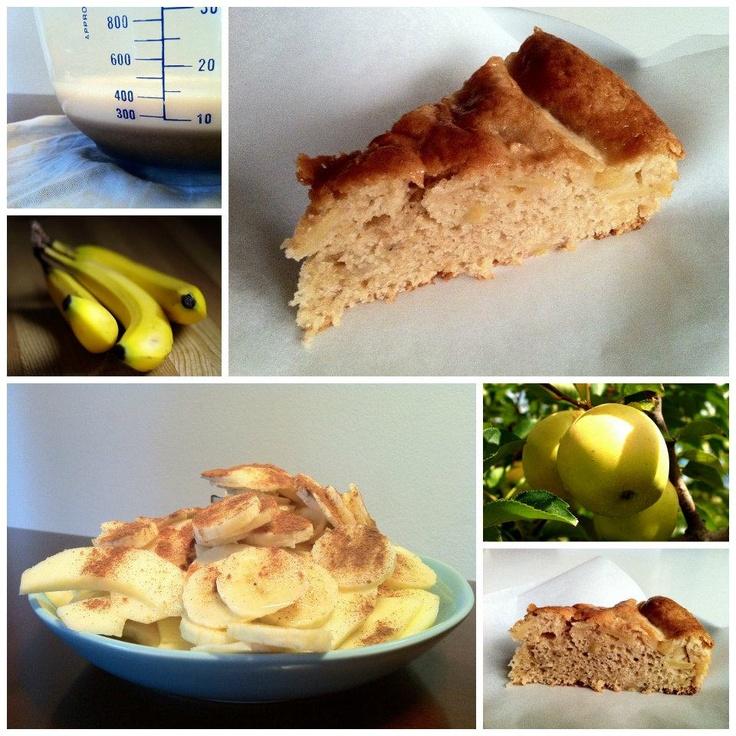 Vegan cake di farro, mele e banane. Ingredienti: 2 mele golden 1 banana 300 gr. di farina di farro 250 gr. di zucchero di canna 50 gr. di maizena 250 ml. di latte di soja o di riso 100 gr. di margarina 1 bustina di lievito 1 stecca di vaniglia (o una bustina di vanillina) succo di limone e cannella q.b.