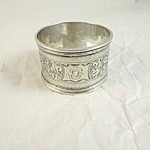 Sterling Silver Napkin Ring, Engraved Pattern 1897.