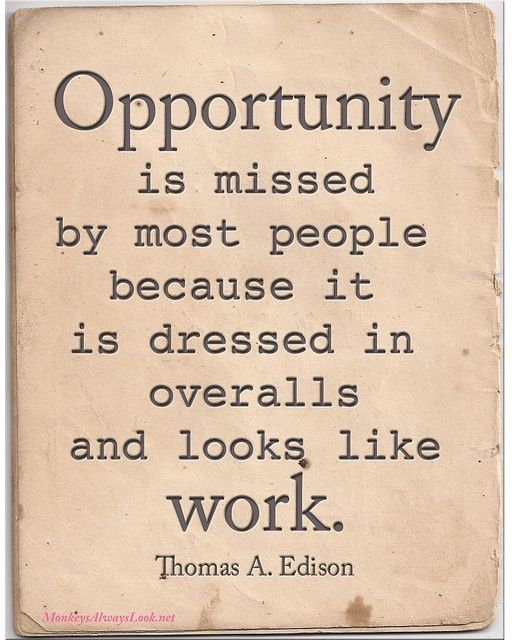 """""""Opportunity is missed by most people because it is dressed in overalls and looks like work."""" ~ Thomas Edison by stacey"""