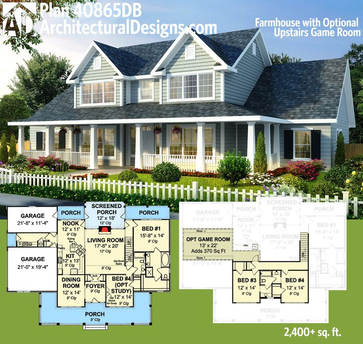 architectural designs farmhouse plan 40865db has a partially wrapping porch in front a screened porch - Farmhouse Plans