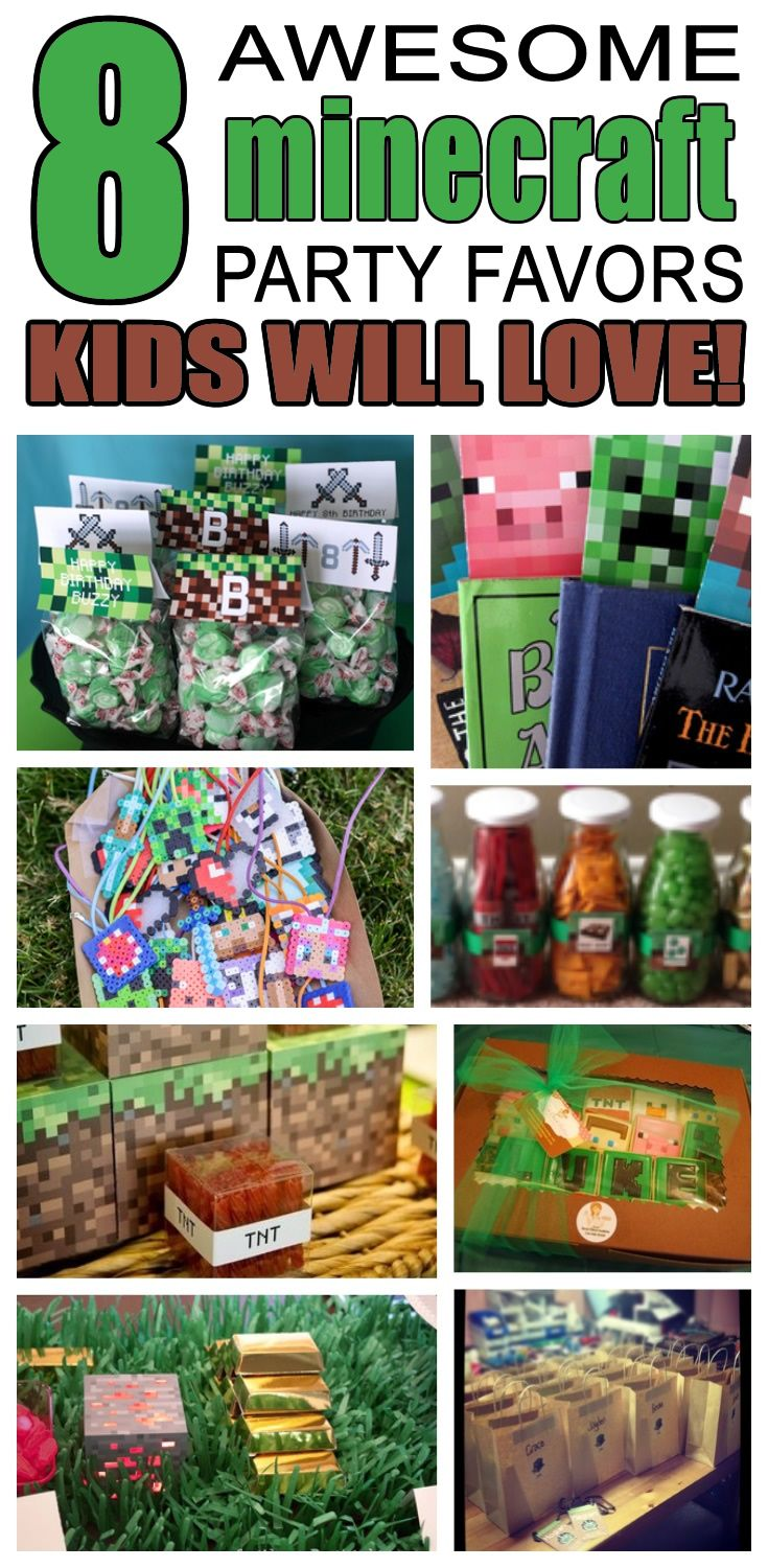 Great minecraft party favors kids will love. Fun and cool minecraft birthday party favor ideas for children. Easy goody bags, treat bags, gifts and more for boys and girls. Get the best minecraft birthday party favors any child would love to take home. Loot bags, loot boxes, goodie bags, candy and more for minecraft party celebrations.
