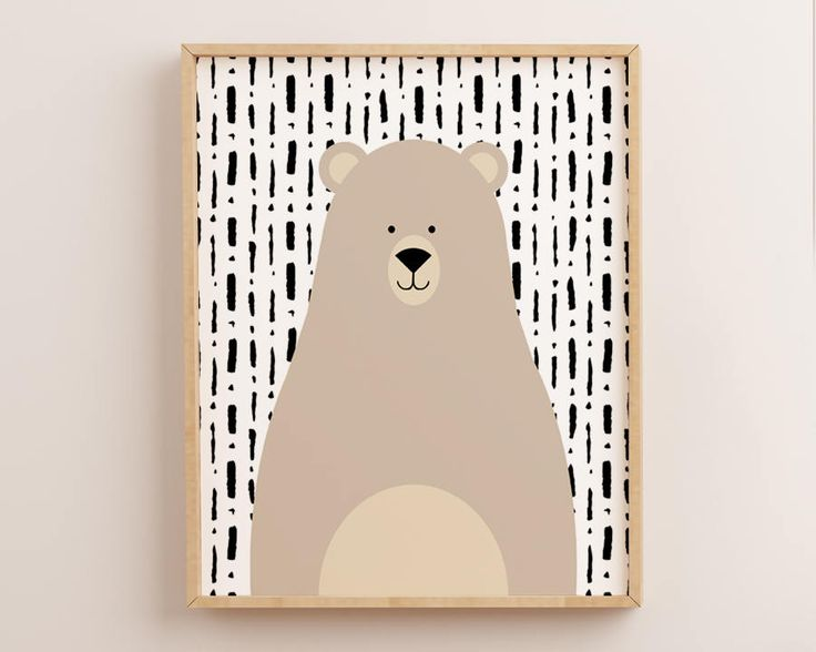 Brown Bear Print, Bear Wall Art, Bear Nursery, Kids Prints, Kids Wall Art, Kids Wall Decor, Bear Poster, Bear Picture, Scandinavian Print by AdornMyWall on Etsy