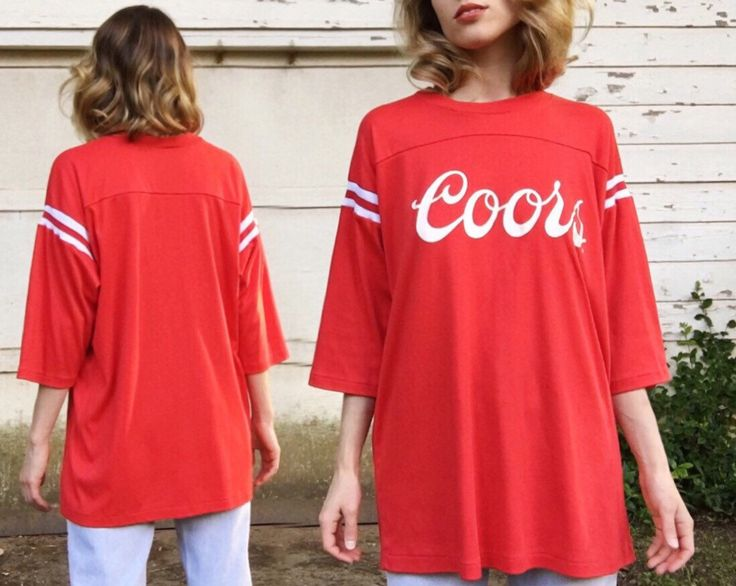Vintage Red + White Stripes Authentic Coors Brewing Company Beer Raglan Tee T-shirt L by vernasvintageATL on Etsy https://www.etsy.com/listing/280020126/vintage-red-white-stripes-authentic