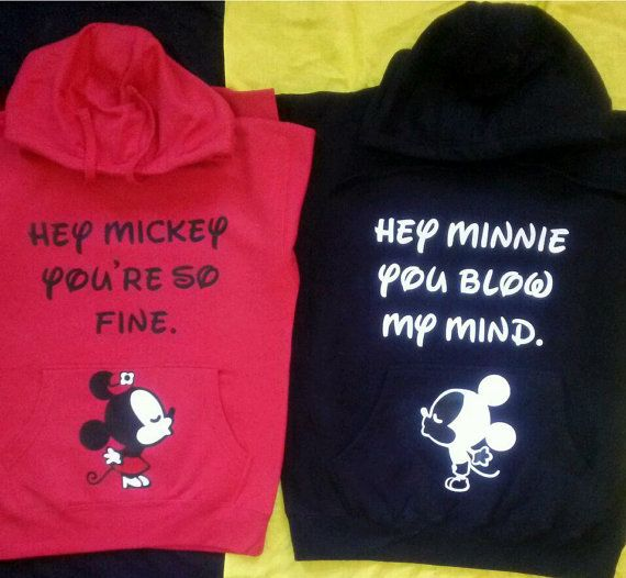 HA HA!  Free Shipping for US Hey Mickey Hey Minnie Kissing Cuties Couples Hoodies